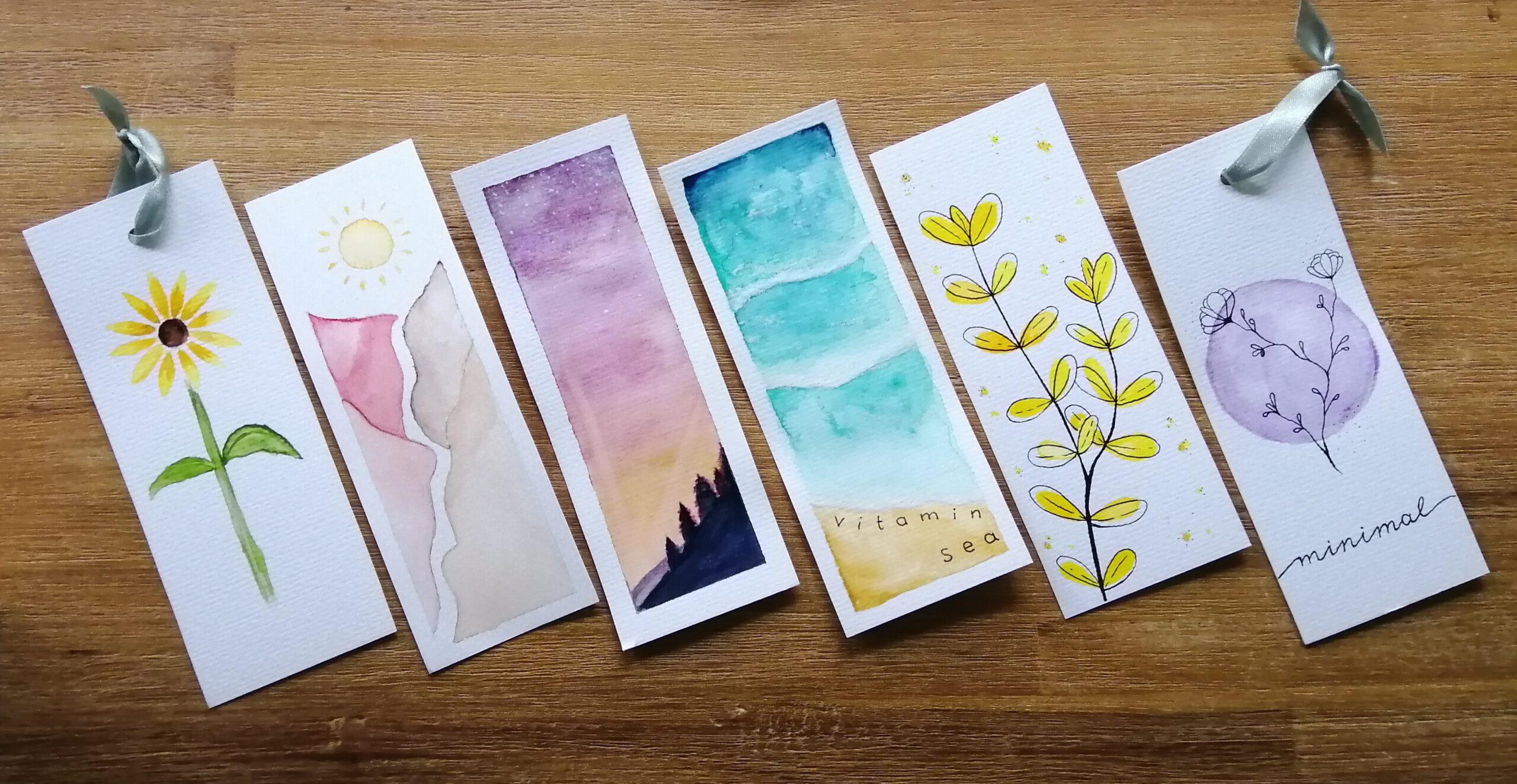 6 Lesezeichen, die Bernadettes Tochter mit Aquarellfarben selbst gestaltet hat